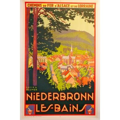 Niederbronn les bains 1930 affiche signée de Lucien Blumer