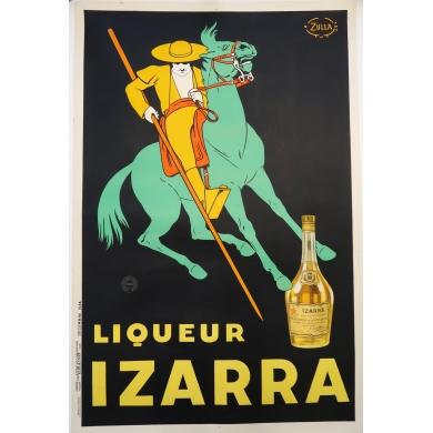 Affiche ancienne originale publicitaire pour la Liqueur Izarra 1934