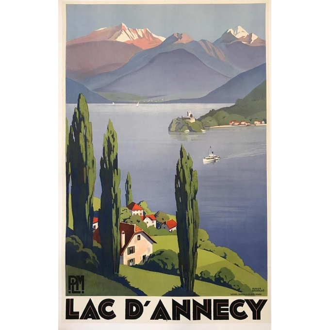 Vintage poster of Lac d'Annecy PLM (Lake Annecy) signed by Roger Broders