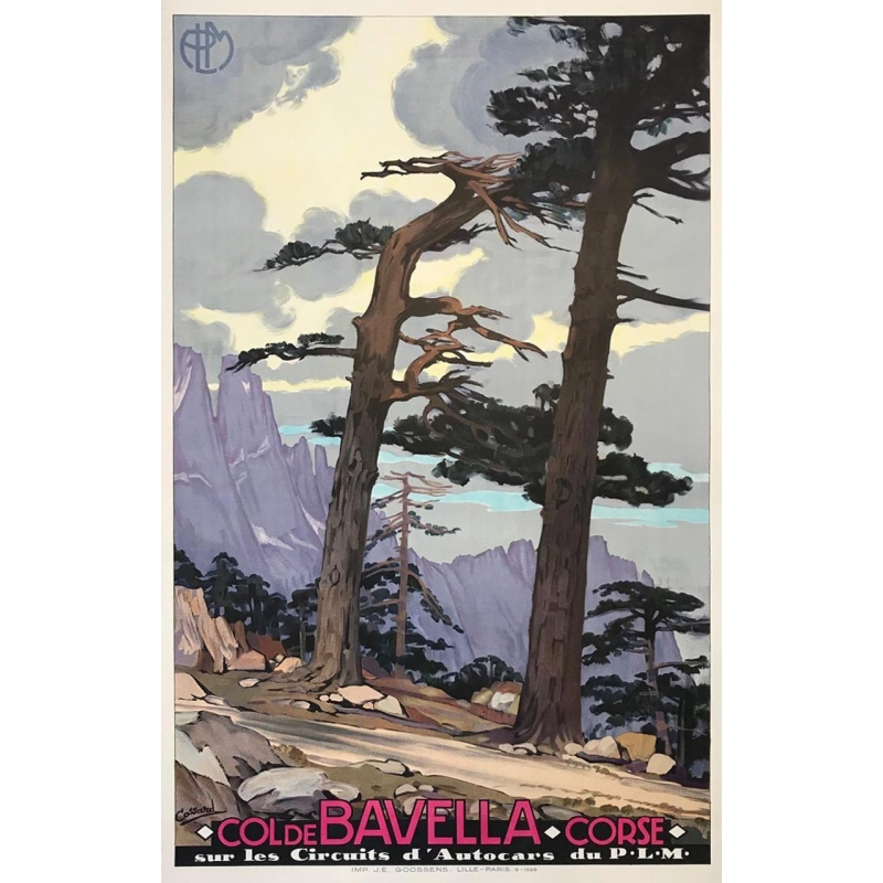Vintage travel poster of Corse - Col de Bavella PLM - Signed by Cassard