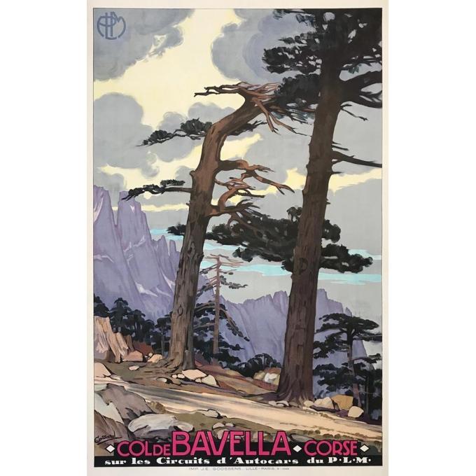 Vintage travel poster of Corse - Col de Bavella PLM - Signed by Cassard