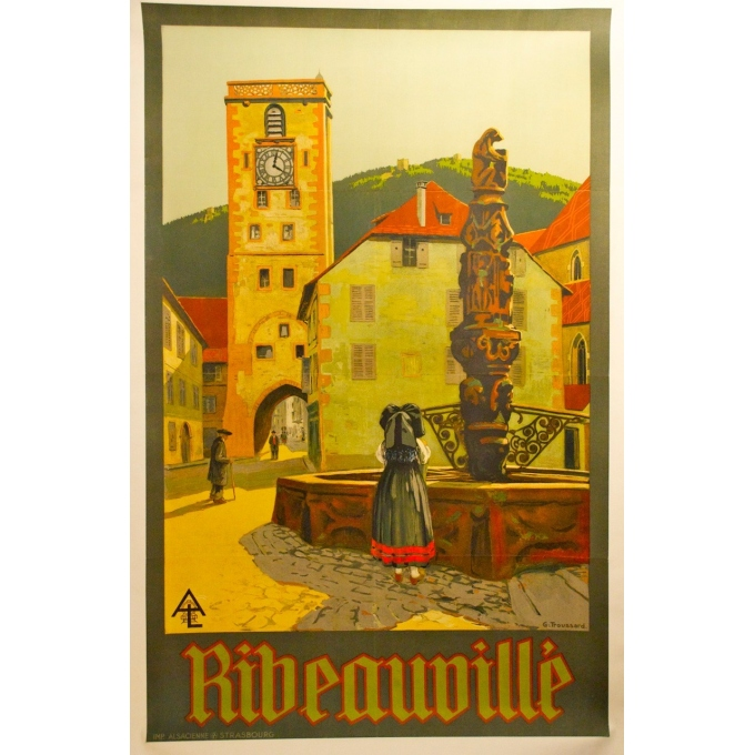 Ribeauville original poster signed by Troussard Eastern France