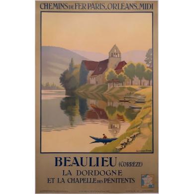 Affiche ancienne Beaulieu - La dordogne et la chapelle des pénitents - 1920 - Constant Duval