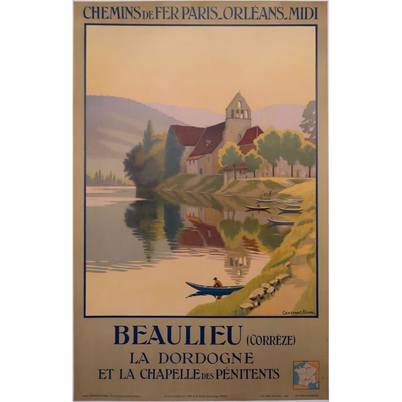 Vintage French travel poster Beaulieu - La dordogne et la chapelle des pénitents - 1920 - Constant Duval