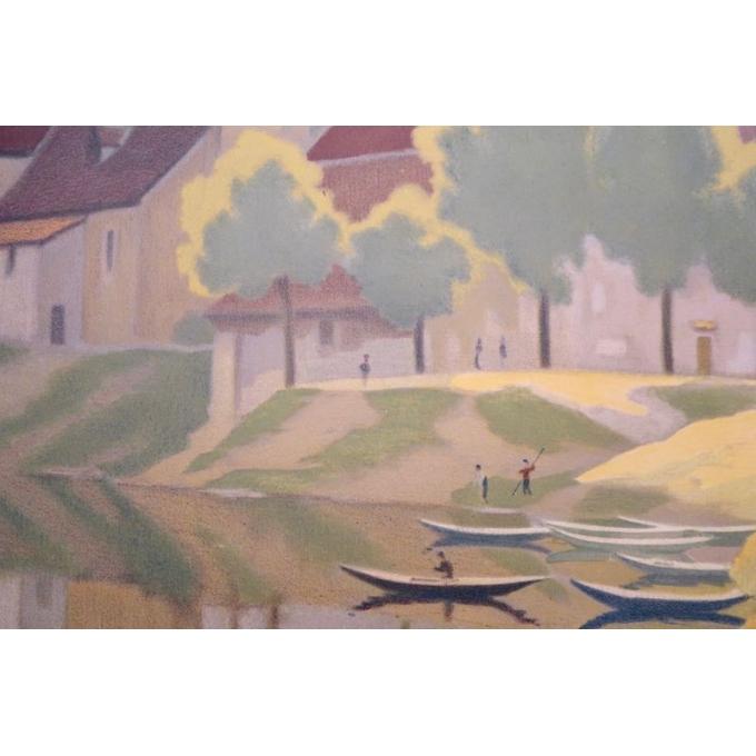Affiche ancienne Beaulieu - La dordogne et la chapelle des pénitents - 1920 - Constant Duval - vue 3