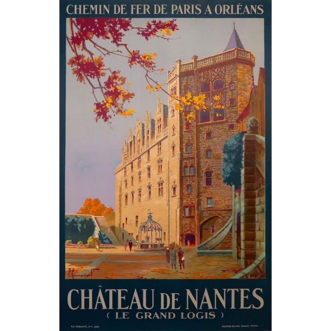 Vintage poster Castle of Nantes, France - Le grand logis - 1930 - Pierre Commarmond