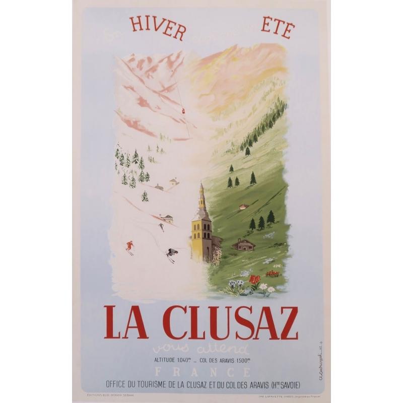 Affiche ancienne de La Clusaz de 1947