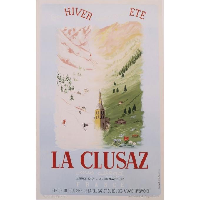 vintage travel poster of La Clusaz, France, from 1947