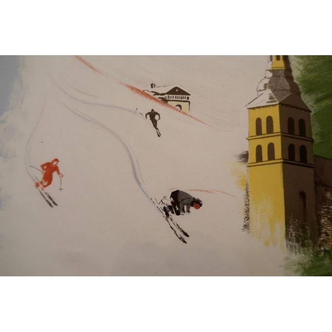 Affiche ancienne de La Clusaz de 1947 - vue 2