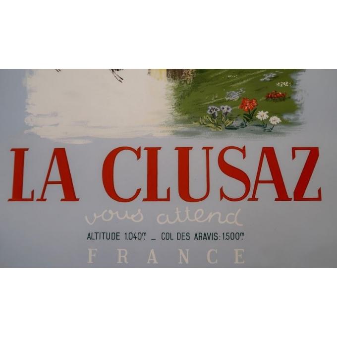 Affiche ancienne de La Clusaz de 1947 - vue 4