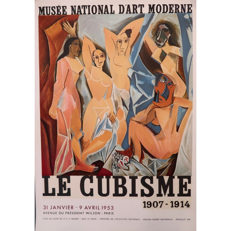 Vintage poster from 1953 from the exhibition on cubism from 1907 to 1914, Paris museum