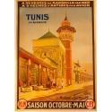 Affiche Tunis la blanche mosquée de Sidi Youssef 1920 imprimée par Moullot Marseille