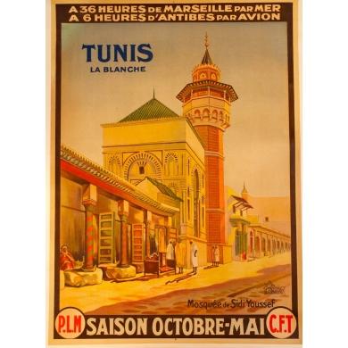 Affiche ancienne originale Tunis la blanche 1920
