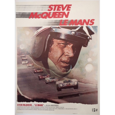 Vintage movie poster Steve Mc Queen Le Mans 1971, signed by Ferracci