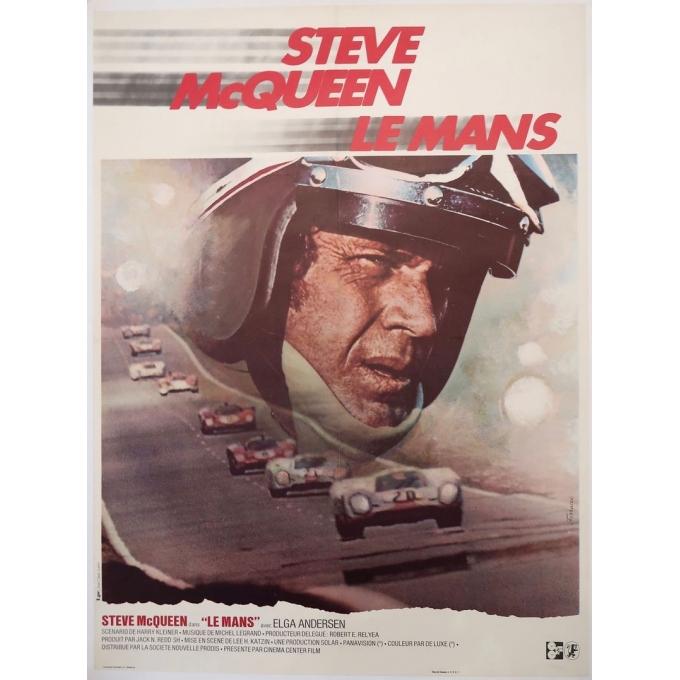 Vintage movie poster Steve Mc Queen Le Mans 1971, signed by Ferracci