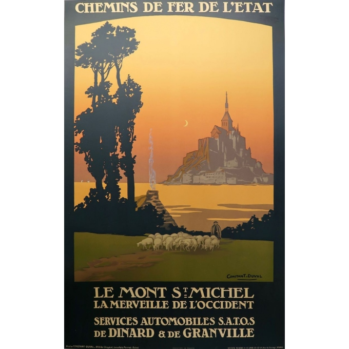 Vintage poster of Le Mont Saint Michel France -1920 - Signed by Constant Duval