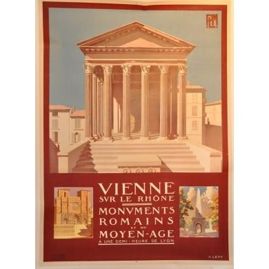 Vienne sur le Rhone affiche signée de H.Léty - affiche PLM