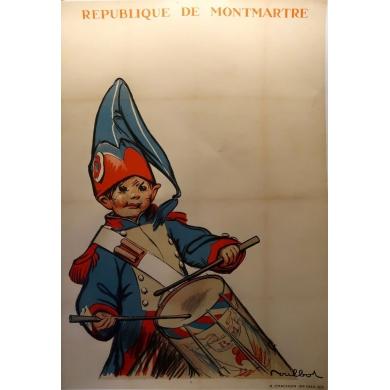 Affiche ancienne publicitaire de la République de Montmartre - 1933 - signée par Moullot - Imp. H Chachoin