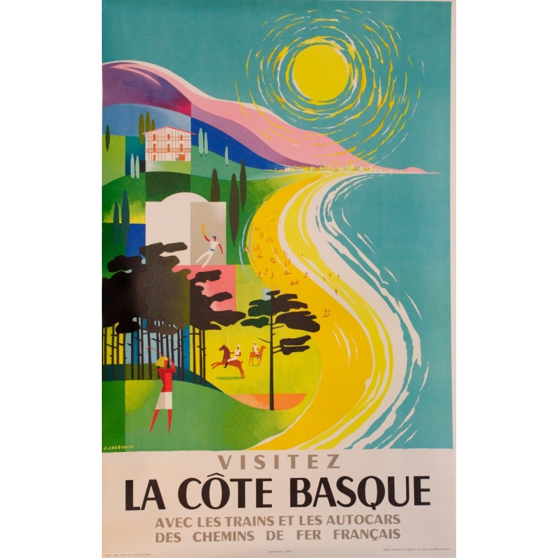 Visit the Basque coast signed by Jacquelin 1964