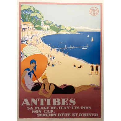 Vintage travel poster by Roger Broders Antibes - France 1928