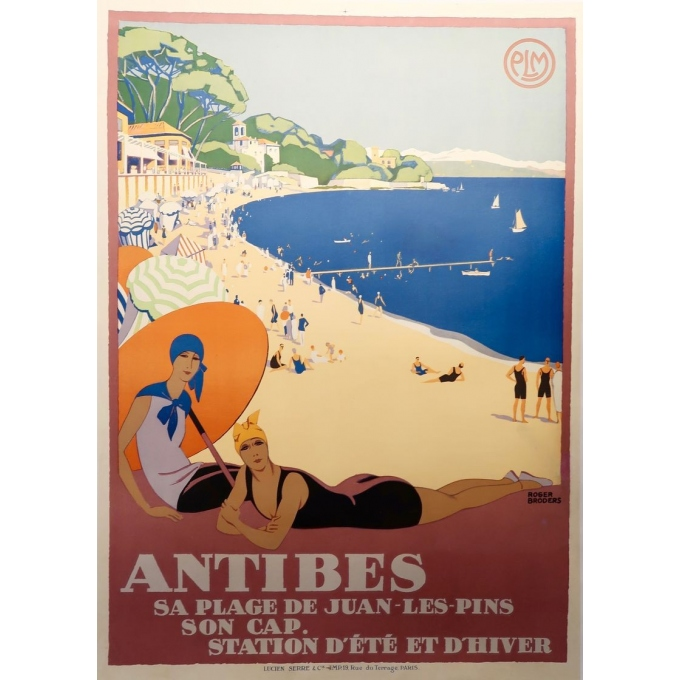 Vintage travel poster by Roger Broder 1928 of Antibes France PLM