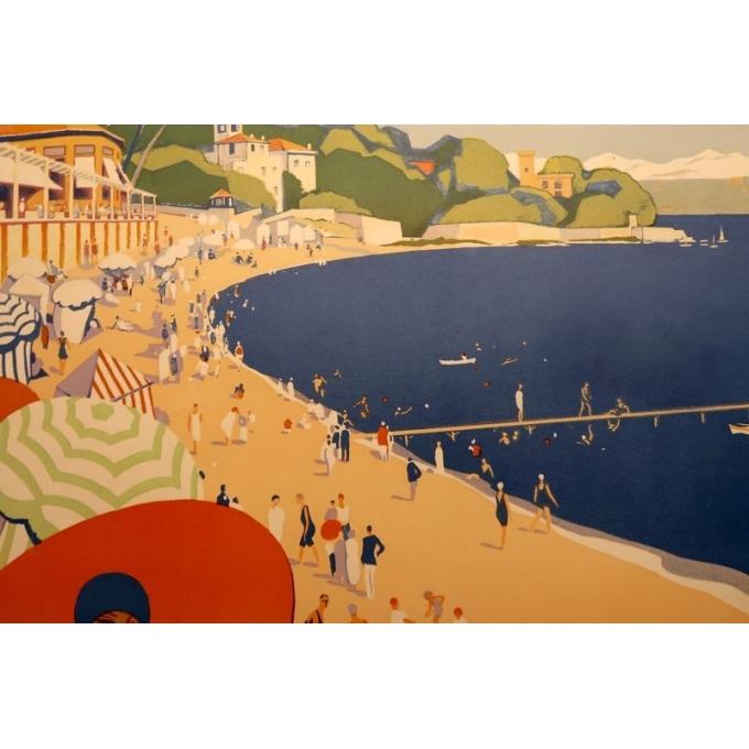 Affiche ancienne de voyage de Roger Broders 1928 - Antibes - vue 2