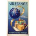 AIR FRANCE Transporte tout, partout- Affiche originale en parfait état- Entoilée - 60 x 80 cm