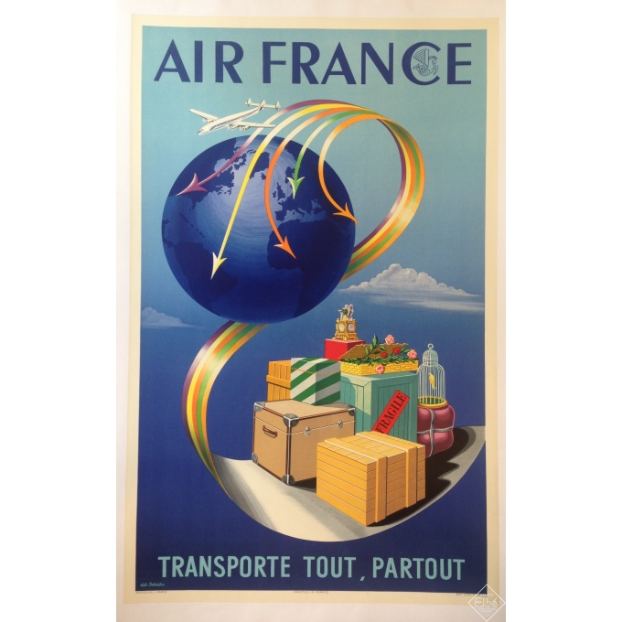 AIR FRANCE carries anything, anywhere - original poster in perfect condiition - linenbacked - 23.6 x  31.5 in