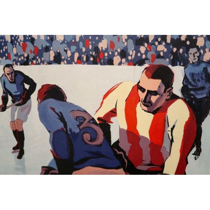 Vintage poster Chamonix Mt Blanc - 1930 world ice hockey championship - Roger Broders - 39.3 x 24.8 inches - view 6