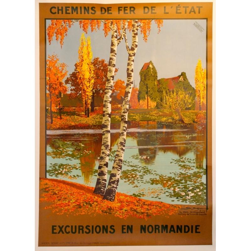 Affiche Excursions en Normandie signée de Geo Dorival