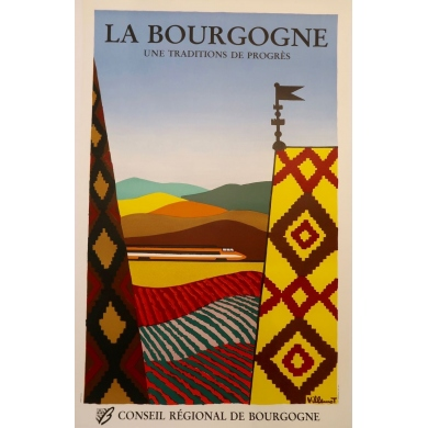 Original poster of Bernard Villemot - 1980, La Bourgogne. 30.3 by 47.2 inches
