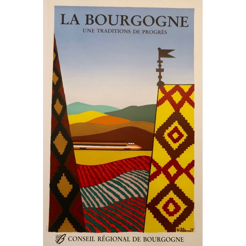 Original poster of Bernard Villemot - 1980, La Bourgogne. 30.3 by 47.2 inches