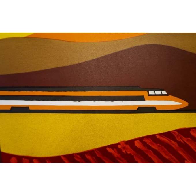 Affiche de Bernard Villemot datant de 1980, La Bourgogne. 77 x 120 cm - Vue 3