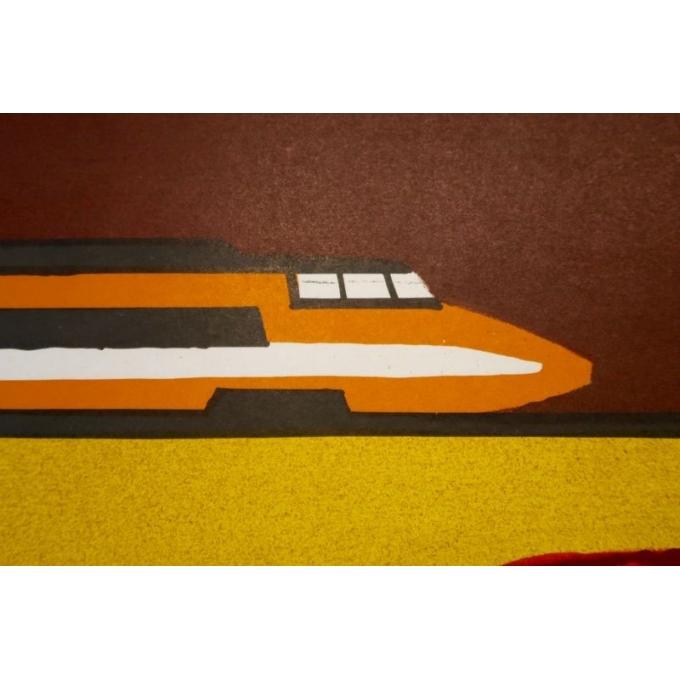 Affiche de Bernard Villemot datant de 1980, La Bourgogne. 77 x 120 cm - Vue 4