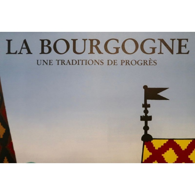 Original poster of Bernard Villemot - 1980, La Bourgogne. 30.3 by 47.2 inches - Vue 5