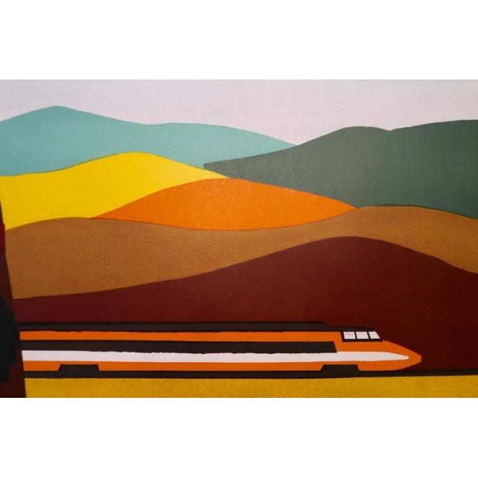 Affiche de Bernard Villemot datant de 1980, La Bourgogne. 77 x 120 cm - Vue 6
