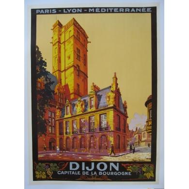 Affiche Dijon capitale de la Bourgogne signée de Roger Soubie 1922