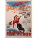 Vintage travel and advertising poster of ski resort Limone Piemonte Italy - 1960 - Bertello - 27.16 by 38.57 inches