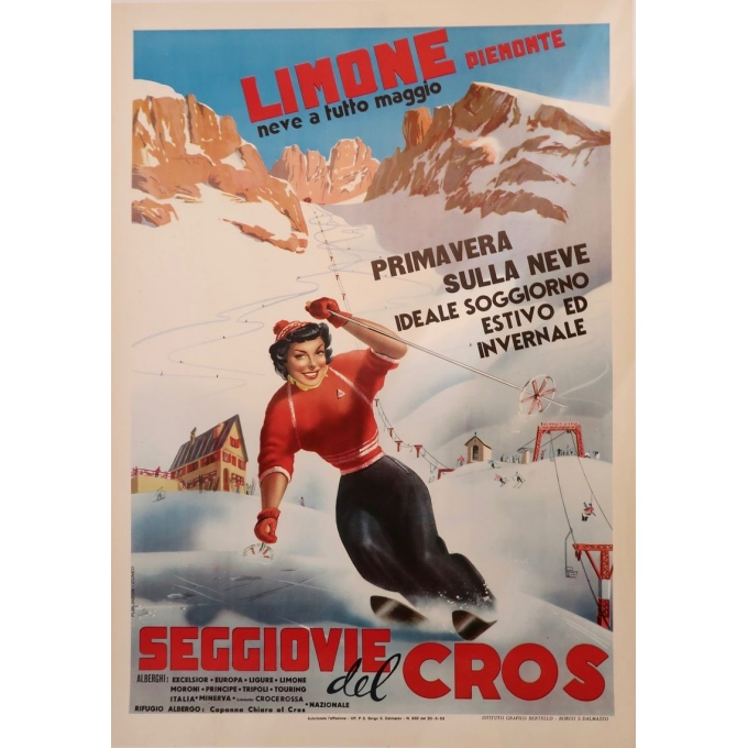 Affiche ancienne de voyage et publicité Limone Piemonte station de ski Italie - 1960 - Bertello - 69 x 98 cm