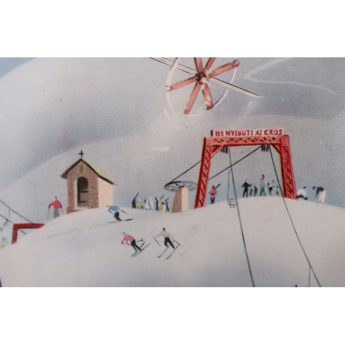 Affiche ancienne de voyage et publicité Limone Piemonte station de ski Italie - 1960 - Bertello - 69 x 98 cm - Vue 2
