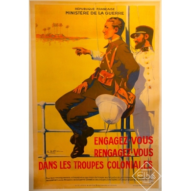 colonial troops original french vintage poster