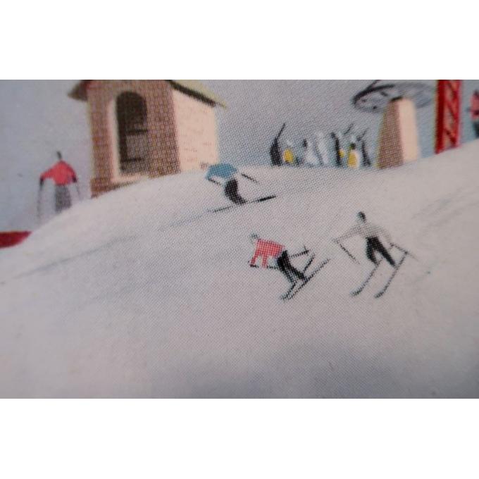 Affiche ancienne de voyage et publicité Limone Piemonte station de ski Italie - 1960 - Bertello - 69 x 98 cm - Vue 5