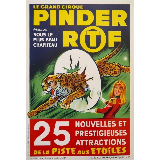 Affiche ancienne de publicité pour les spectacles du cirque Pinder La piste aux étoiles - Grinsson - 1960 - 45.5 x 64 cm