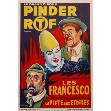 Affiche ancienne publicitaire pour le cirque Pinder - 1960 - Grinsson - Les Francesco - 45.5 par 64 cm