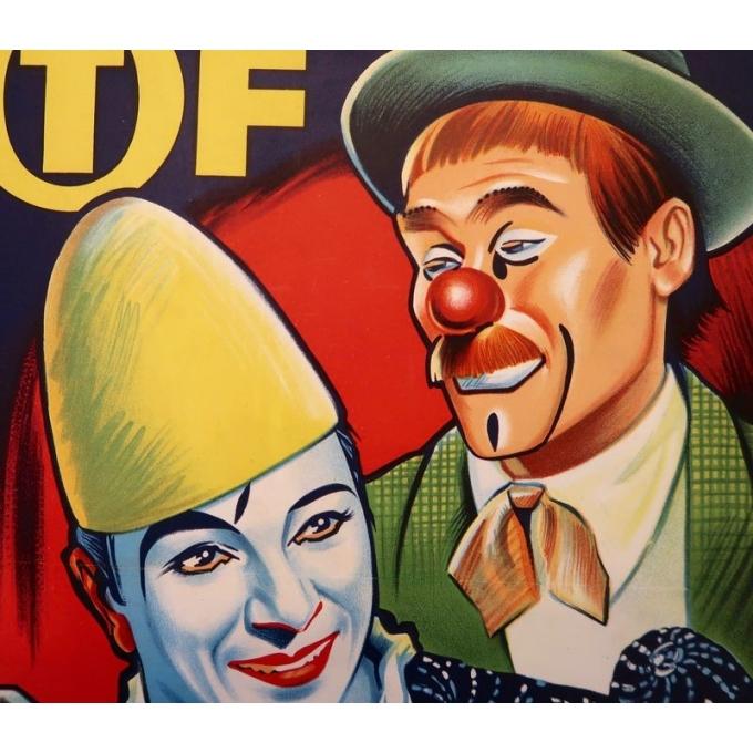 Affiche ancienne publicitaire pour le cirque Pinder - 1960 - Grinsson - Les Francesco - 45.5 par 64 cm - Vue 2