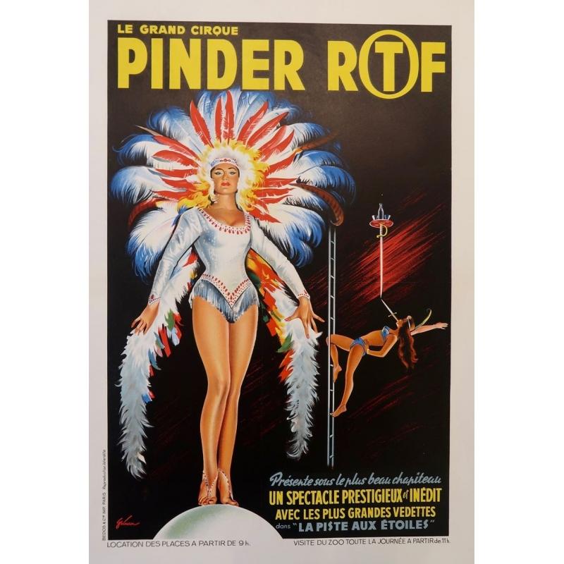 Affiche ancienne publicitaire pour le cirque Pinder - Grinsson 1960 - Un spectacle prestigieux et inédit - 45.5 par 64 cm