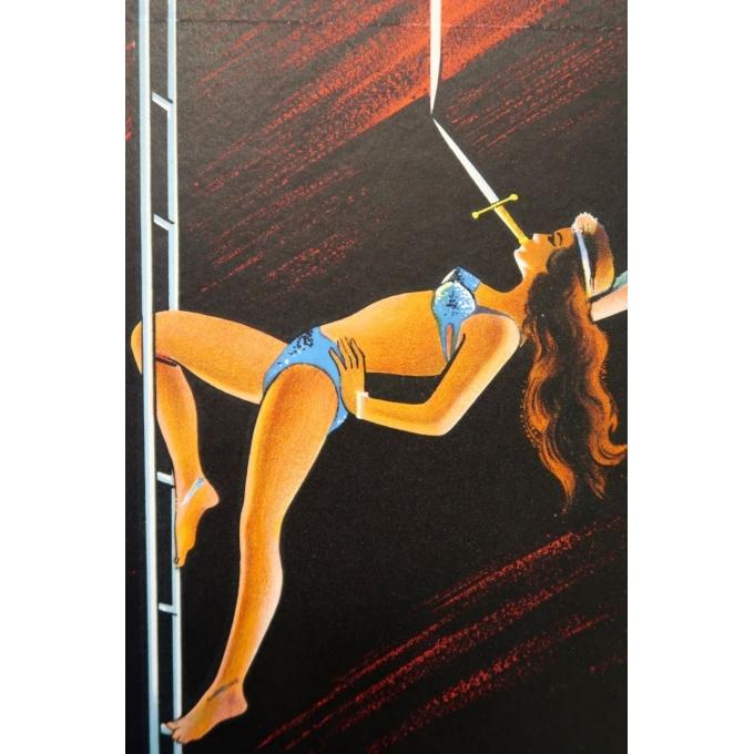 Affiche ancienne publicitaire du cirque Pinder - Grinsson 1960 - Un spectacle prestigieux et inédit - 45.5 par 64 cm - Vue 2