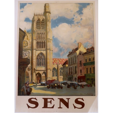 Vintage french tourism poster Sens - Henri Montassier - 1920 - 29.5 by 41.7 inches