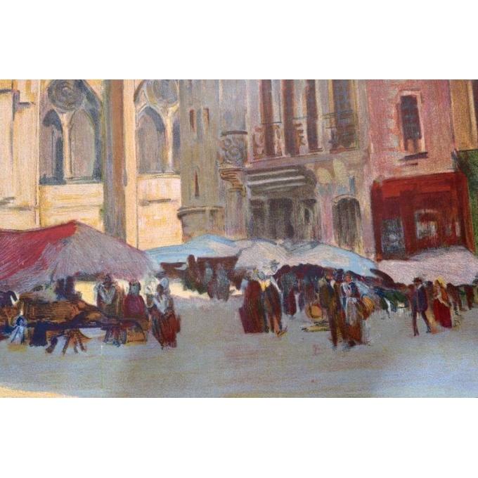 Affiche ancienne tourisme Sens - Henri Montassier - 1920 - 75.5 par 106 cm - Vue 2