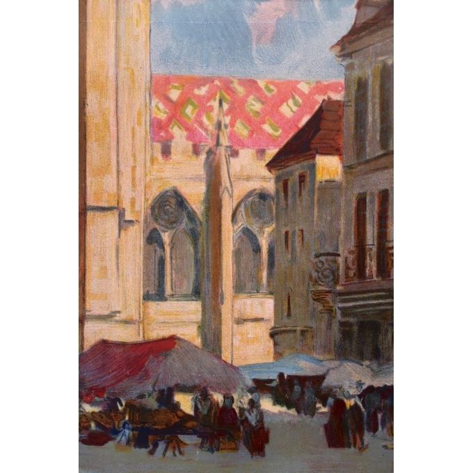Affiche ancienne tourisme Sens - Henri Montassier - 1920 - 75.5 par 106 cm - Vue 5